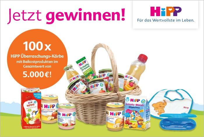 Jetzt gewinnen! 100 x HiPP Überraschungs-Körbe mit Beikostprodukten im Gesamtwert von 5.000 €!