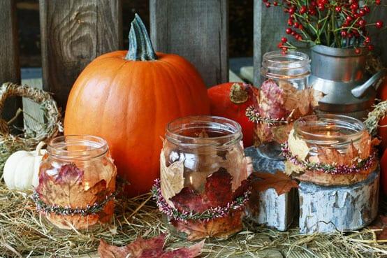 Herbstbasteln: Herbstgläser