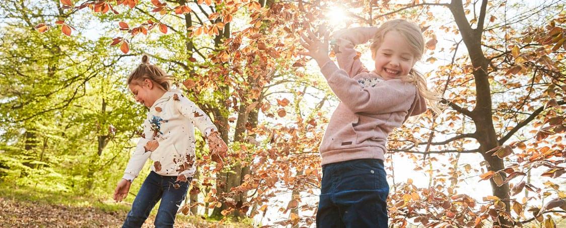 Waldspaziergang mit Kindern im Herbst