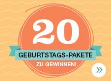 20 GEBURTSTAGS-PAKETE ZU GEWINNEN!