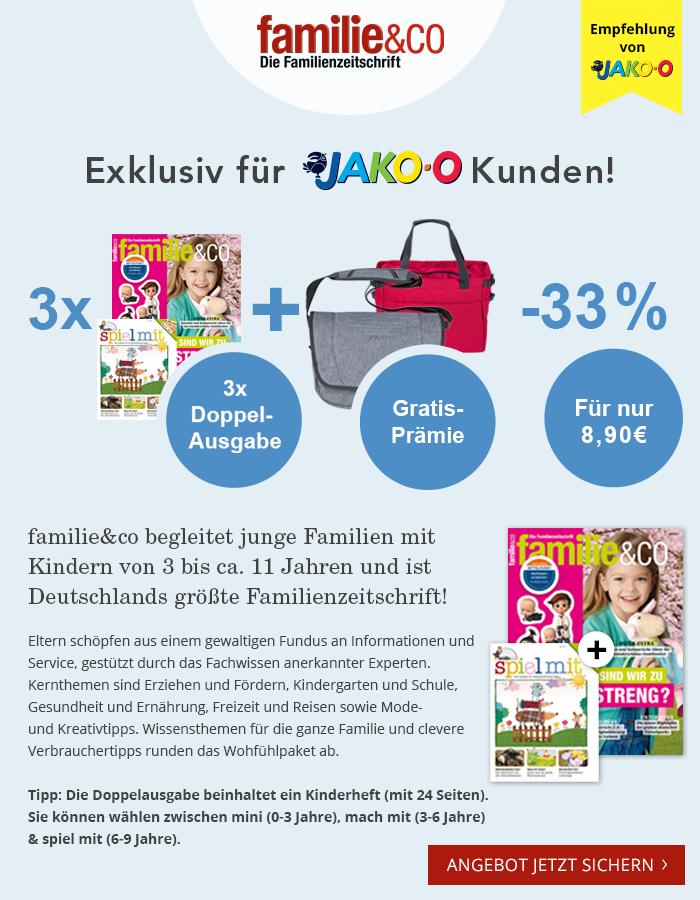 """JAKO-O empfiehlt die Familienzeitschrift """"familie&co"""". Jetzt Vorteil sichern! Exklusiv für JAKO-O Kunden!"""