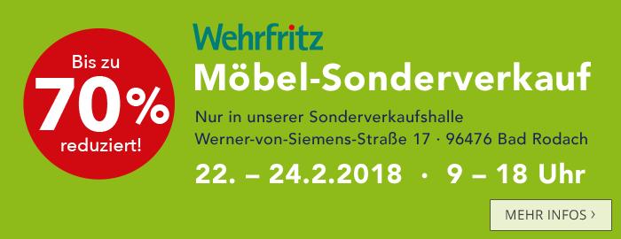 Wehrfritz Möbel-Sonderverkauf. Bis zu 70 % reduziert!