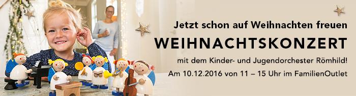 Jetzt schon auf Weihnachten freuen! WEIHNACHTSKONZERT mit dem Kinder- und Jugendorchester Römhild am 10.12.2016 von 11 - 15 Uhr