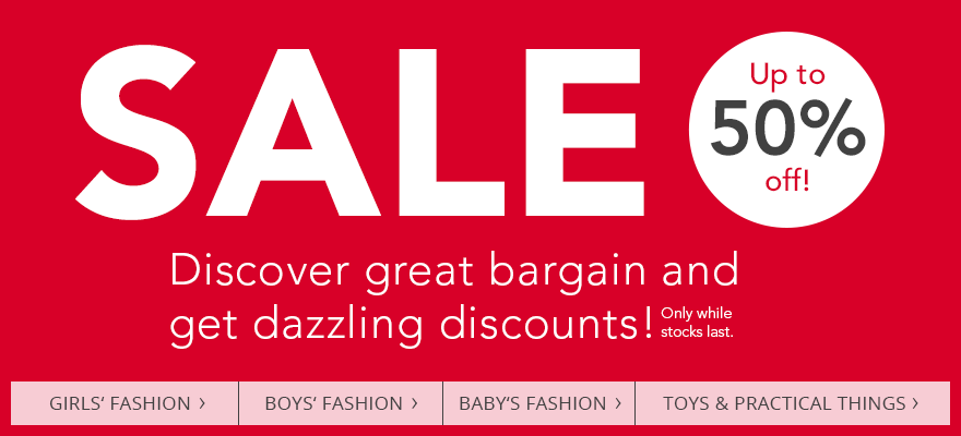 SALE - Discover great bargain and get dizzling discounts! Up to 50 % off!