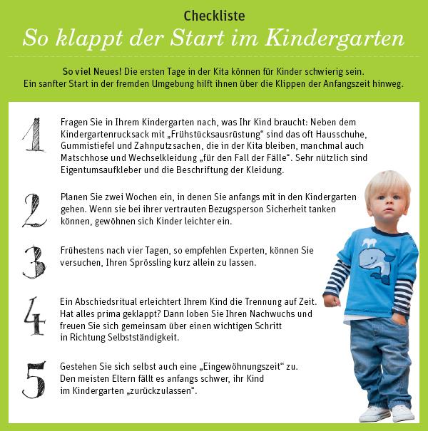 Checkliste - So klappt der Start im Kindergarten