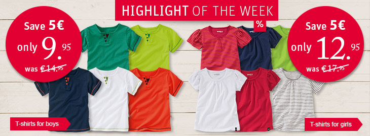 Highlight of the week: T-shirts for boys and girls