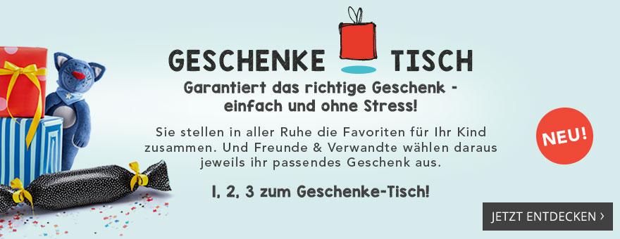 Geschenke-Tisch: Garantiert das richtige Geschenk – einfach und ohne Stress! Sie stellen in aller Ruhe die Favoriten für Ihr Kind zusammen. Und Freunde & Verwandte wählen daraus jeweils ihr passendes Geschenk aus.